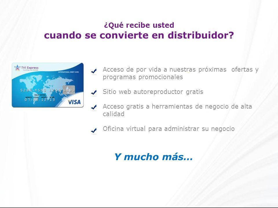 ¿Qué recibe usted cuando se convierte en distribuidor? Acceso de por vida a nuestras próximas ofertas y programas promocionales Sitio web autoreproduc
