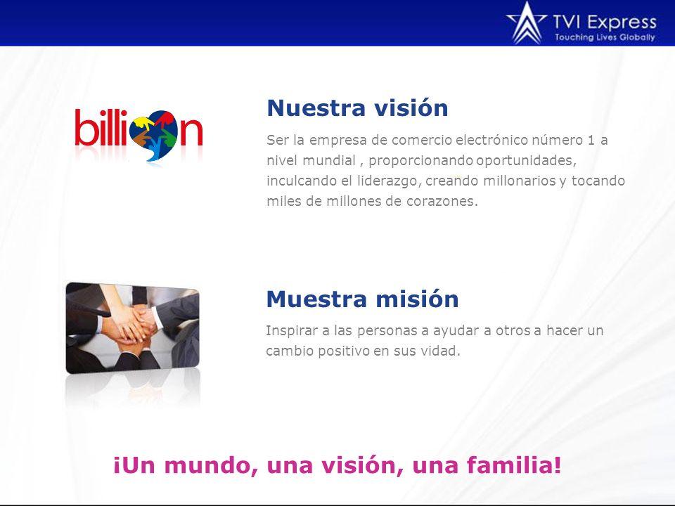 Inspirar a las personas a ayudar a otros a hacer un cambio positivo en sus vidad. Nuestra visión ¡Un mundo, una visión, una familia! Ser la empresa de