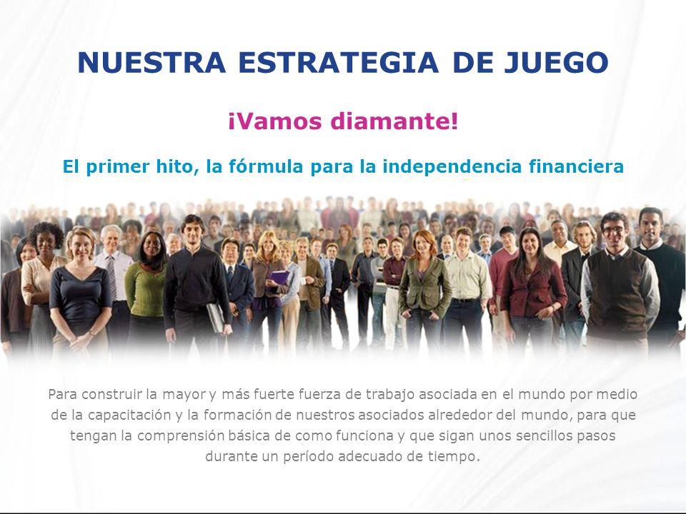 NUESTRA ESTRATEGIA DE JUEGO ¡Vamos diamante! El primer hito, la fórmula para la independencia financiera Para construir la mayor y más fuerte fuerza d