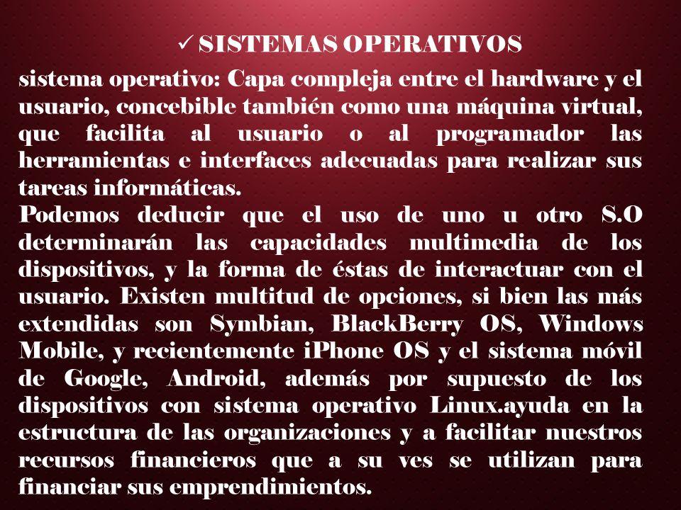 SISTEMAS OPERATIVOS sistema operativo: Capa compleja entre el hardware y el usuario, concebible también como una máquina virtual, que facilita al usua