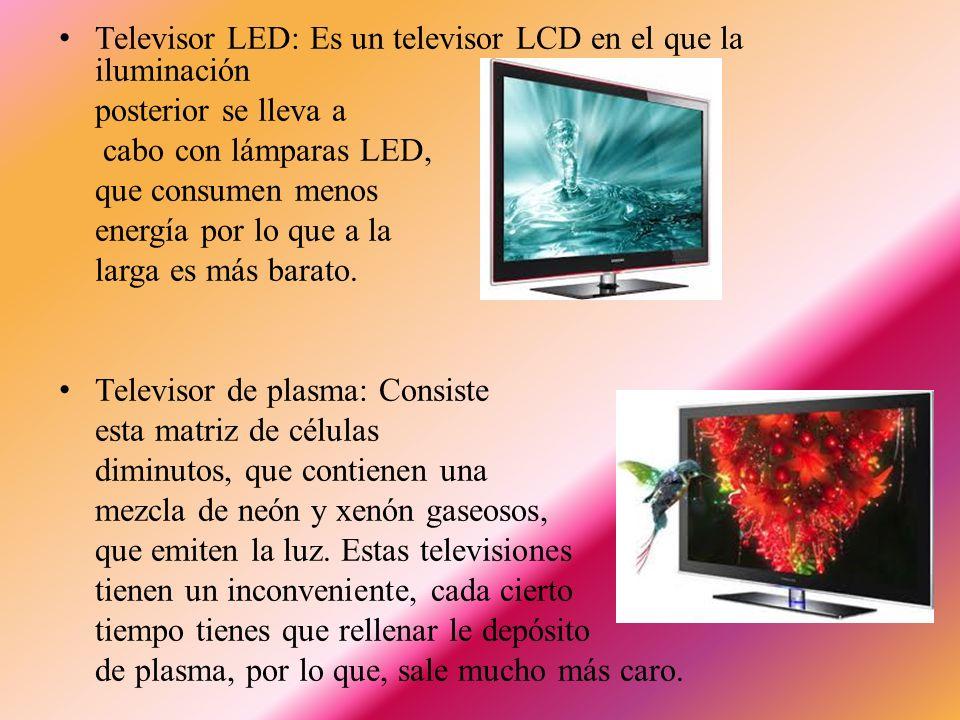 El receptor de Televisión Hay cuatro tipos: Televisor CRT: Contiene un tubo de rayos catódicos, en el interior hay unos materiales que se iluminan con un tipo de luz determinada.
