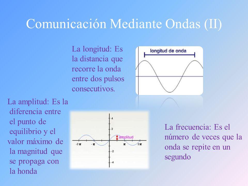 Comunicación Mediante Ondas (I) Ondas mecánicas: Necesitan de un medios sólido, líquido o gaseoso para propagarse.