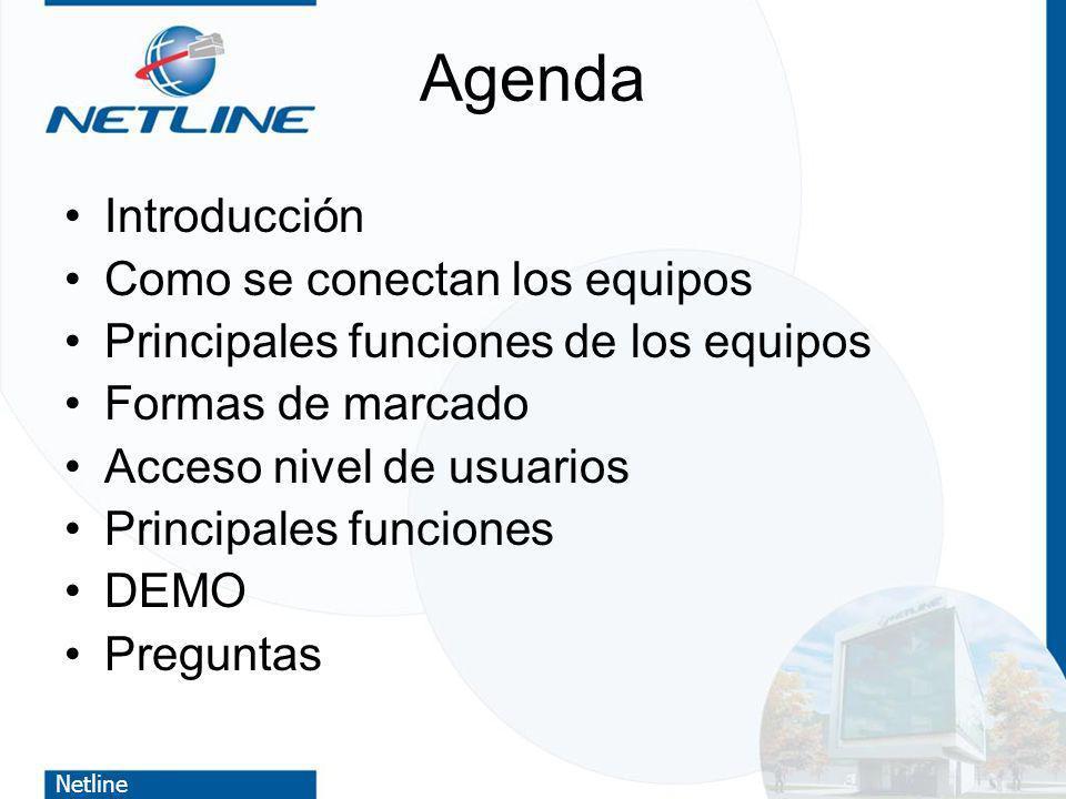 Netline Agenda Introducción Como se conectan los equipos Principales funciones de los equipos Formas de marcado Acceso nivel de usuarios Principales f