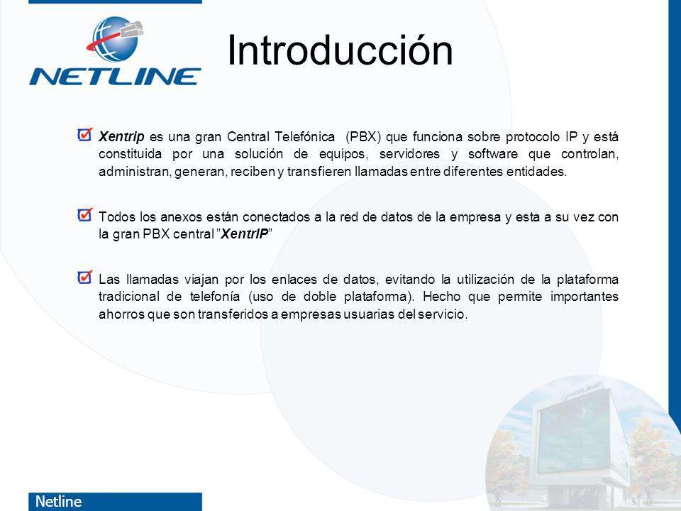 Netline Introducción Xentrip es una gran Central Telefónica (PBX) que funciona sobre protocolo IP y está constituida por una solución de equipos, serv