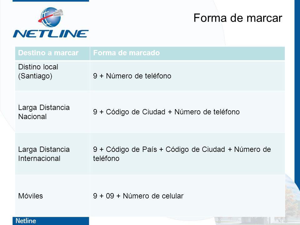 Netline Forma de marcar Destino a marcarForma de marcado Distino local (Santiago)9 + Número de teléfono Larga Distancia Nacional 9 + Código de Ciudad