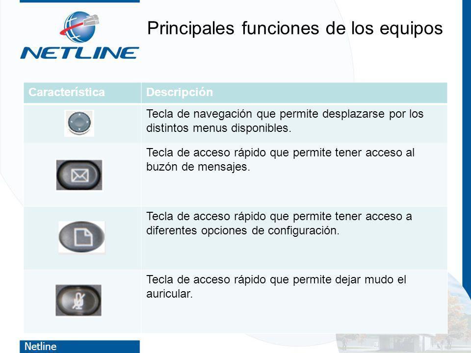 Netline Principales funciones de los equipos CaracterísticaDescripción Tecla de navegación que permite desplazarse por los distintos menus disponibles
