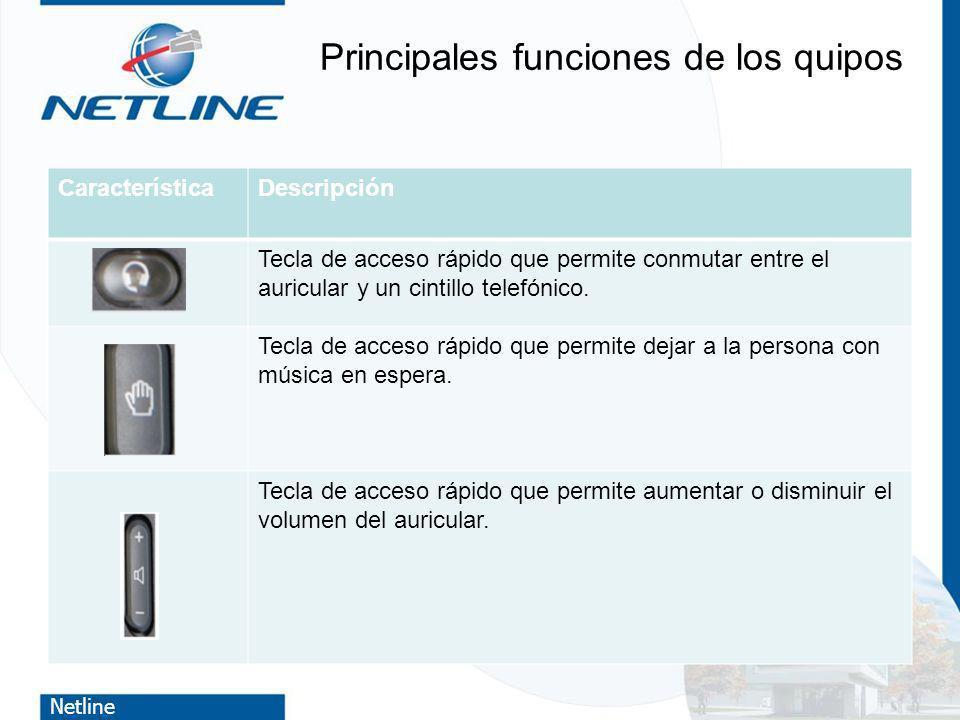 Netline Principales funciones de los quipos CaracterísticaDescripción Tecla de acceso rápido que permite conmutar entre el auricular y un cintillo tel