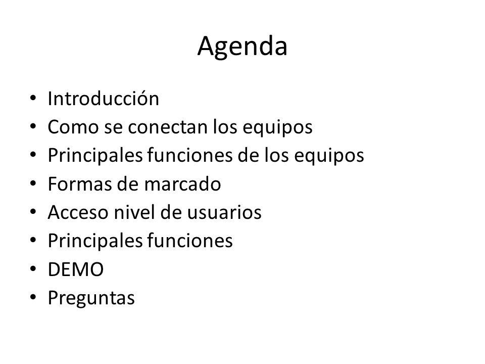 Agenda Introducción Como se conectan los equipos Principales funciones de los equipos Formas de marcado Acceso nivel de usuarios Principales funciones