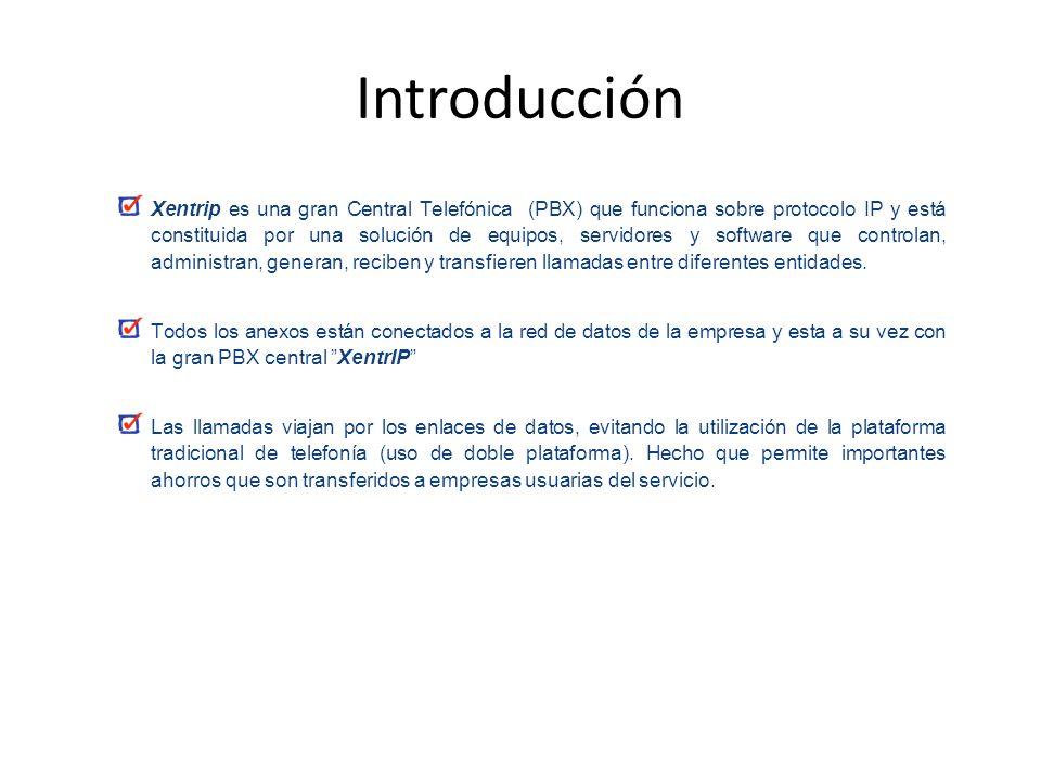 Introducción Xentrip es una gran Central Telefónica (PBX) que funciona sobre protocolo IP y está constituida por una solución de equipos, servidores y