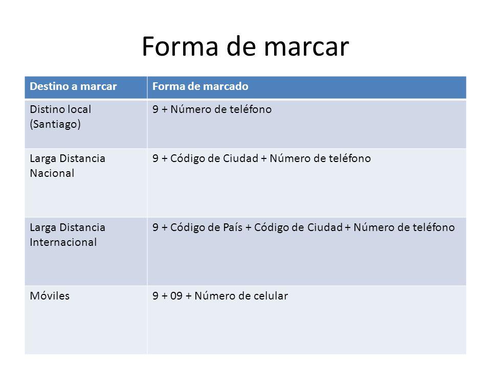Forma de marcar Destino a marcarForma de marcado Distino local (Santiago) 9 + Número de teléfono Larga Distancia Nacional 9 + Código de Ciudad + Númer