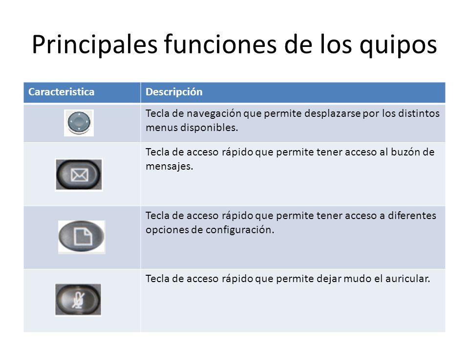 Principales funciones de los quipos CaracteristicaDescripción Tecla de navegación que permite desplazarse por los distintos menus disponibles. Tecla d