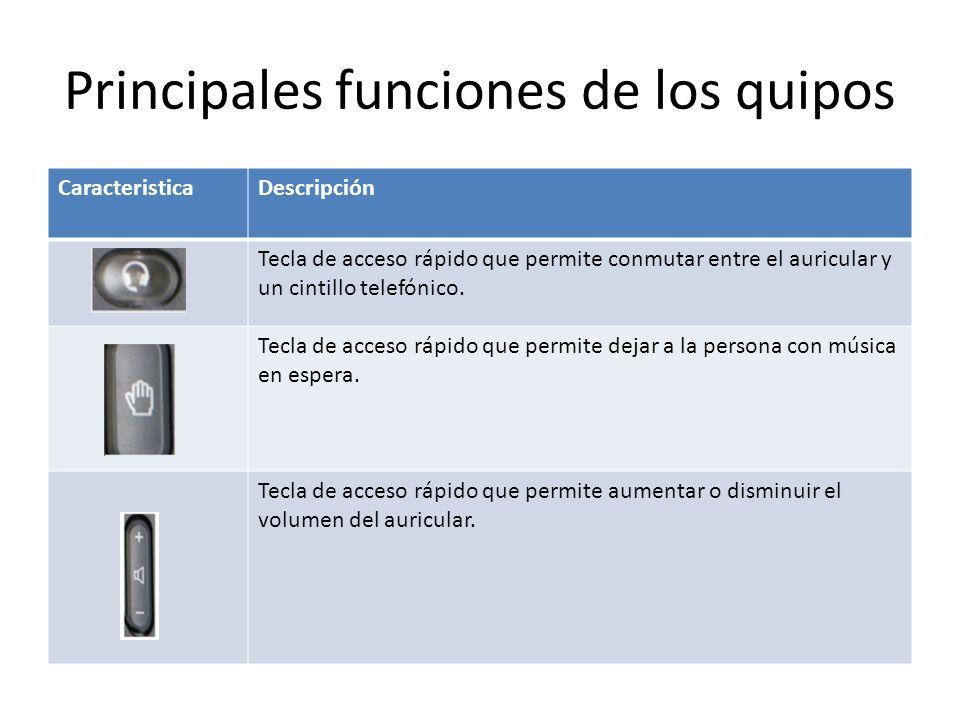 Principales funciones de los quipos CaracteristicaDescripción Tecla de acceso rápido que permite conmutar entre el auricular y un cintillo telefónico.