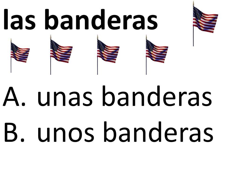 las banderas A.unas banderas B.unos banderas