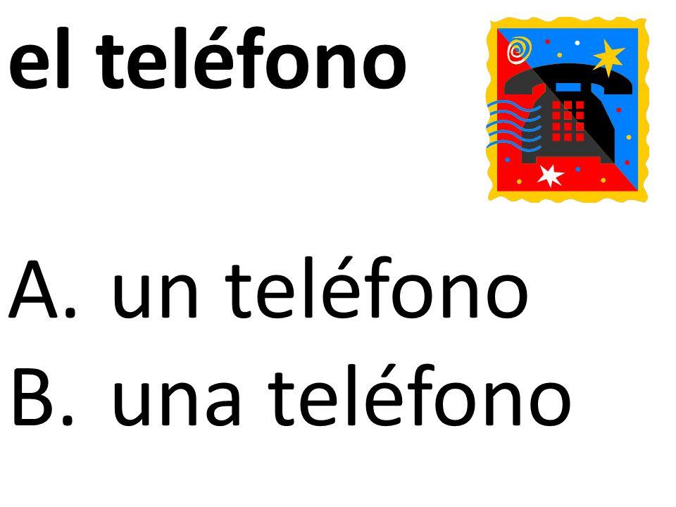 el teléfono A.un teléfono B.una teléfono