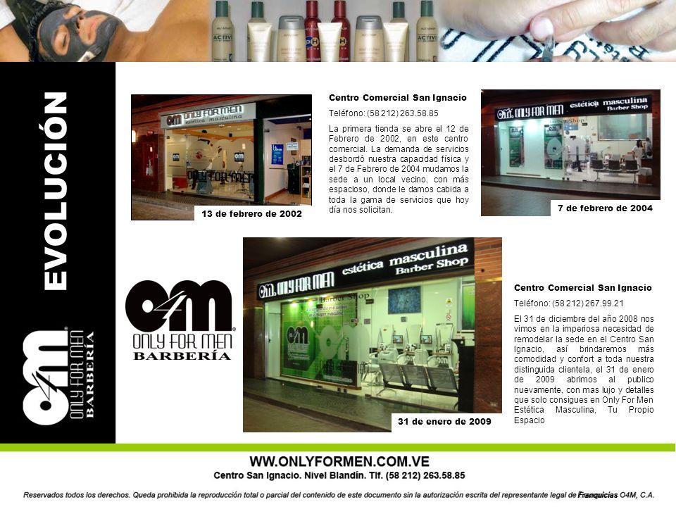 EVOLUCIÓN Centro Comercial San Ignacio Teléfono: (58 212) 263.58.85 La primera tienda se abre el 12 de Febrero de 2002, en este centro comercial.