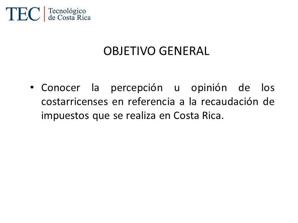 OBJETIVO GENERAL Conocer la percepción u opinión de los costarricenses en referencia a la recaudación de impuestos que se realiza en Costa Rica.