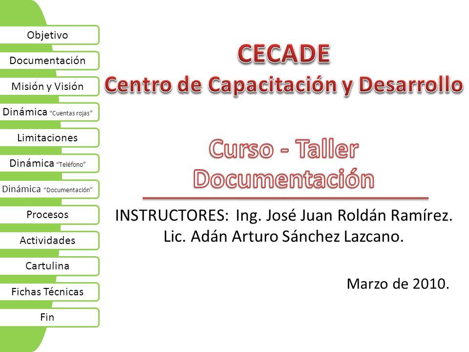 Marzo de 2010. INSTRUCTORES: Ing. José Juan Roldán Ramírez. Lic. Adán Arturo Sánchez Lazcano. Objetivo Documentación Misión y Visión Dinámica Cuentas