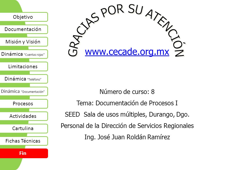 www.cecade.org.mx Número de curso: 8 Tema: Documentación de Procesos I SEED Sala de usos múltiples, Durango, Dgo. Personal de la Dirección de Servicio