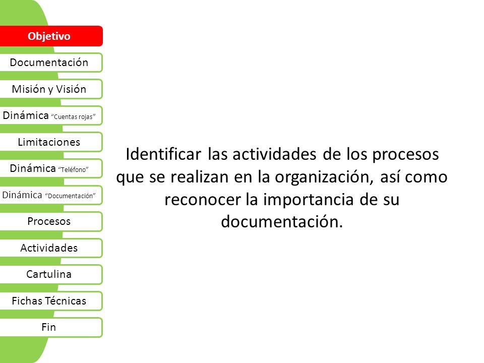 Identificar las actividades de los procesos que se realizan en la organización, así como reconocer la importancia de su documentación. Objetivo Docume