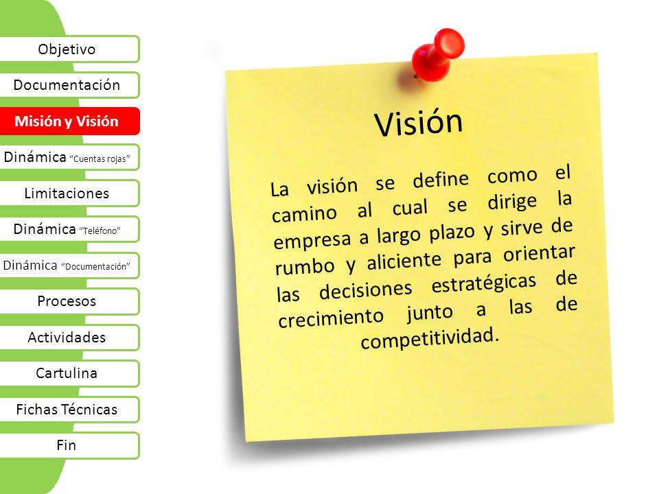 Visión La visión se define como el camino al cual se dirige la empresa a largo plazo y sirve de rumbo y aliciente para orientar las decisiones estraté