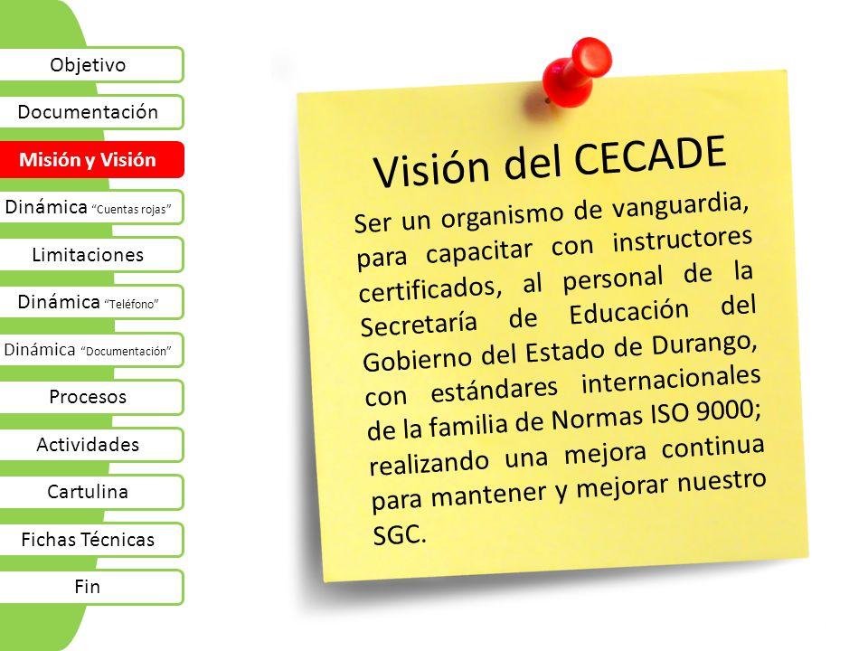 Objetivo Documentación Misión y Visión Dinámica Cuentas rojas Limitaciones Dinámica Teléfono Dinámica Documentación Procesos Actividades Cartulina Fichas Técnicas Fin