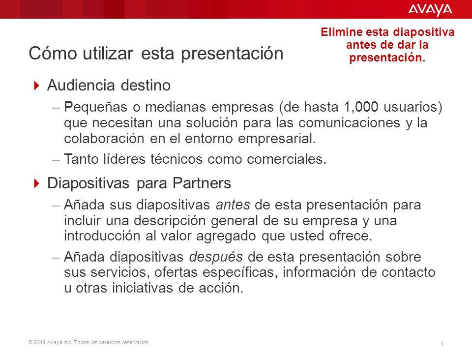 © 2011 Avaya Inc. Todos los derechos reservados. 11 Cómo utilizar esta presentación Audiencia destino –Pequeñas o medianas empresas (de hasta 1,000 us
