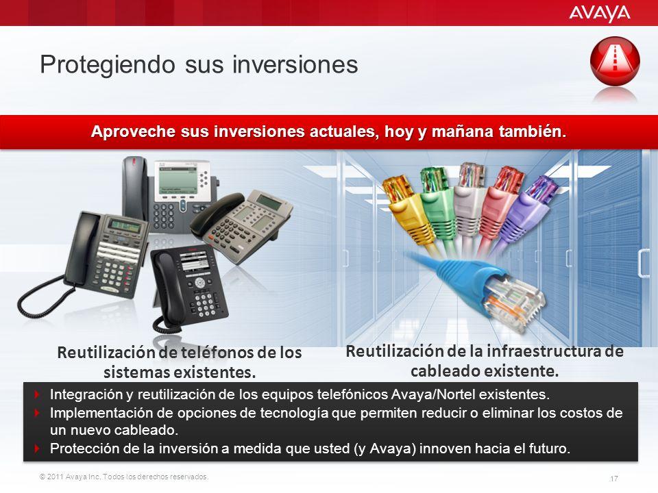 © 2011 Avaya Inc. Todos los derechos reservados. 17 Protegiendo sus inversiones Reutilización de teléfonos de los sistemas existentes. Reutilización d