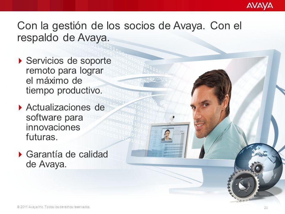 © 2011 Avaya Inc. Todos los derechos reservados. 20 Servicios de soporte remoto para lograr el máximo de tiempo productivo. Actualizaciones de softwar