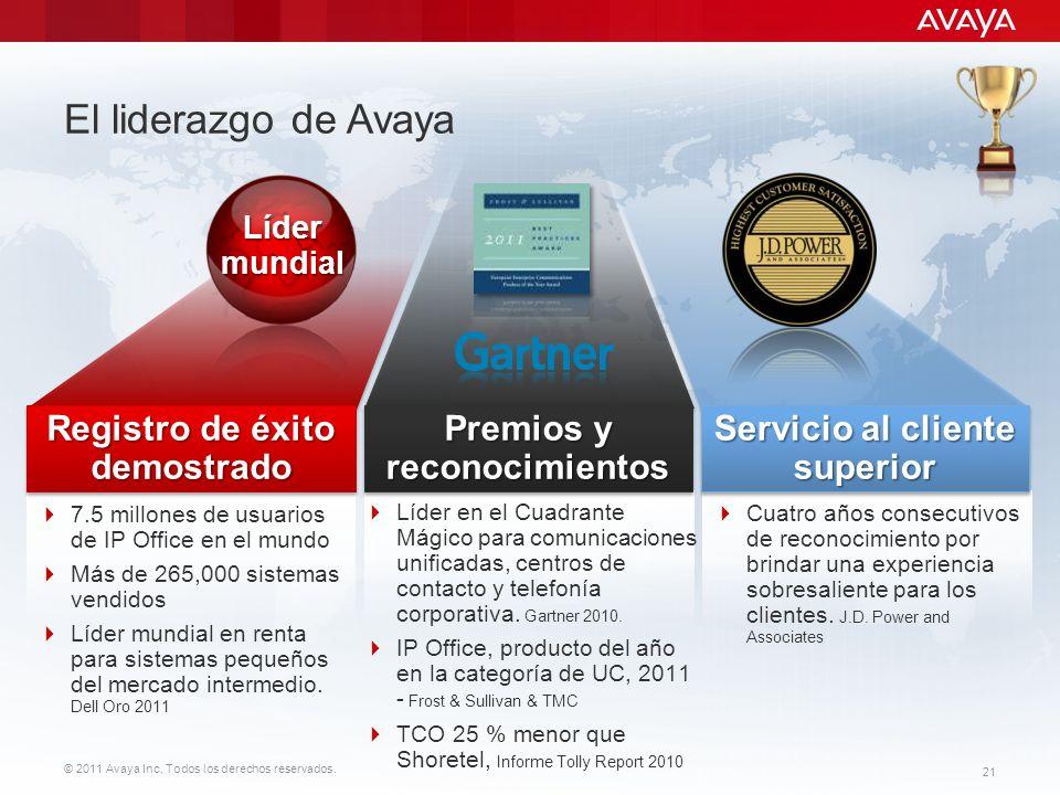 © 2011 Avaya Inc. Todos los derechos reservados. 21 7.5 millones de usuarios de IP Office en el mundo Más de 265,000 sistemas vendidos Líder mundial e
