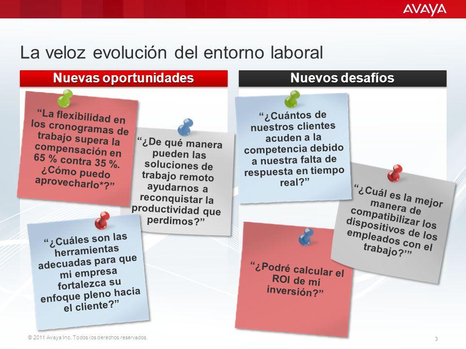 © 2011 Avaya Inc. Todos los derechos reservados. 3 La veloz evolución del entorno laboral *Estudio por encargo de Avaya. Nuevos desafíos Nuevas oportu