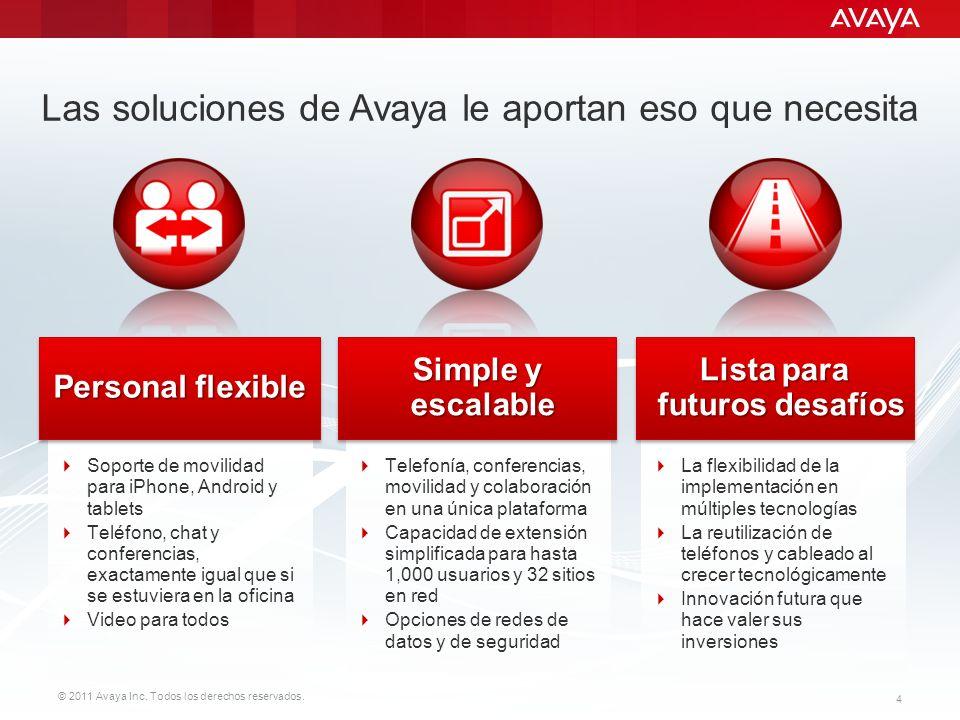 © 2011 Avaya Inc. Todos los derechos reservados. 4 Las soluciones de Avaya le aportan eso que necesita Soporte de movilidad para iPhone, Android y tab