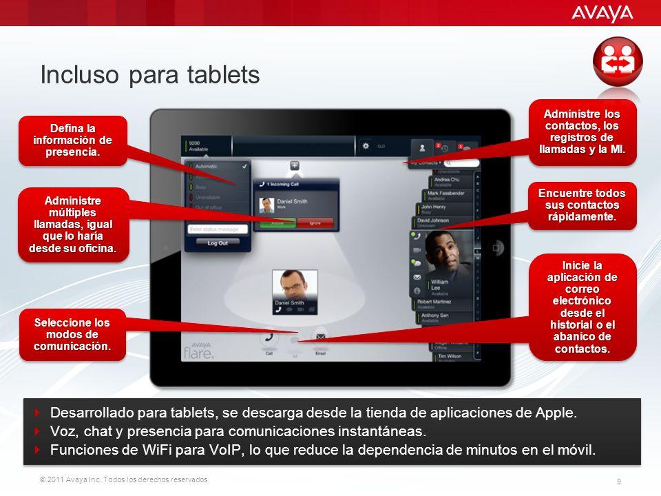 © 2011 Avaya Inc. Todos los derechos reservados. 9 Incluso para tablets Administre múltiples llamadas, igual que lo haría desde su oficina. Encuentre