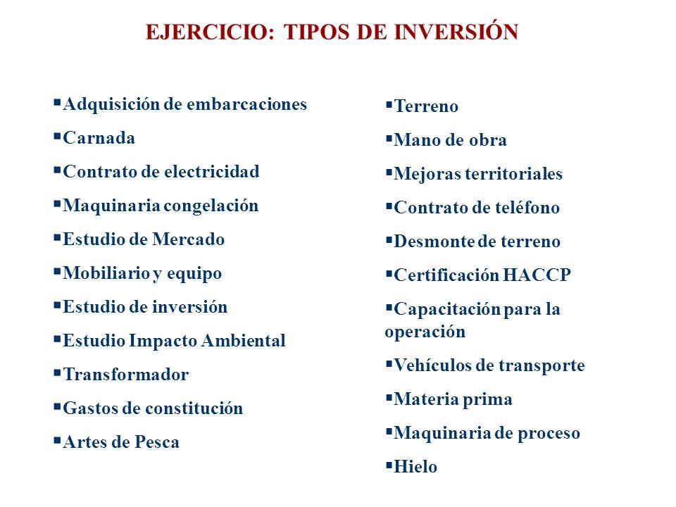 EJERCICIO: TIPOS DE INVERSIÓN Adquisición de embarcaciones Carnada Contrato de electricidad Maquinaria congelación Estudio de Mercado Mobiliario y equ