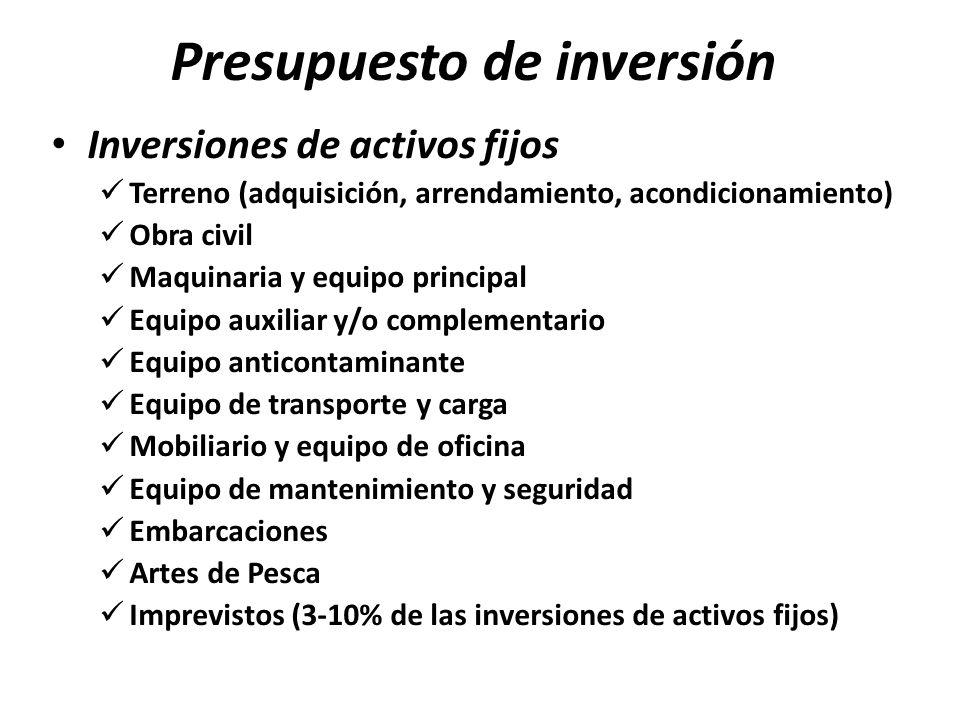 Presupuesto de inversión Inversiones de activos fijos Terreno (adquisición, arrendamiento, acondicionamiento) Obra civil Maquinaria y equipo principal