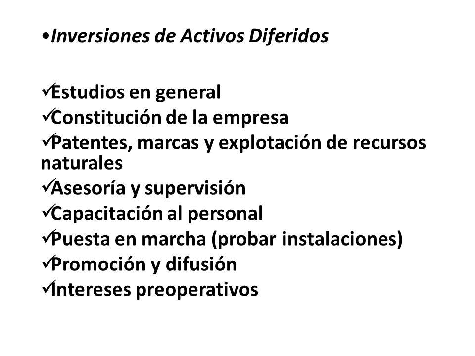 Inversiones de Activos Diferidos Estudios en general Constitución de la empresa Patentes, marcas y explotación de recursos naturales Asesoría y superv