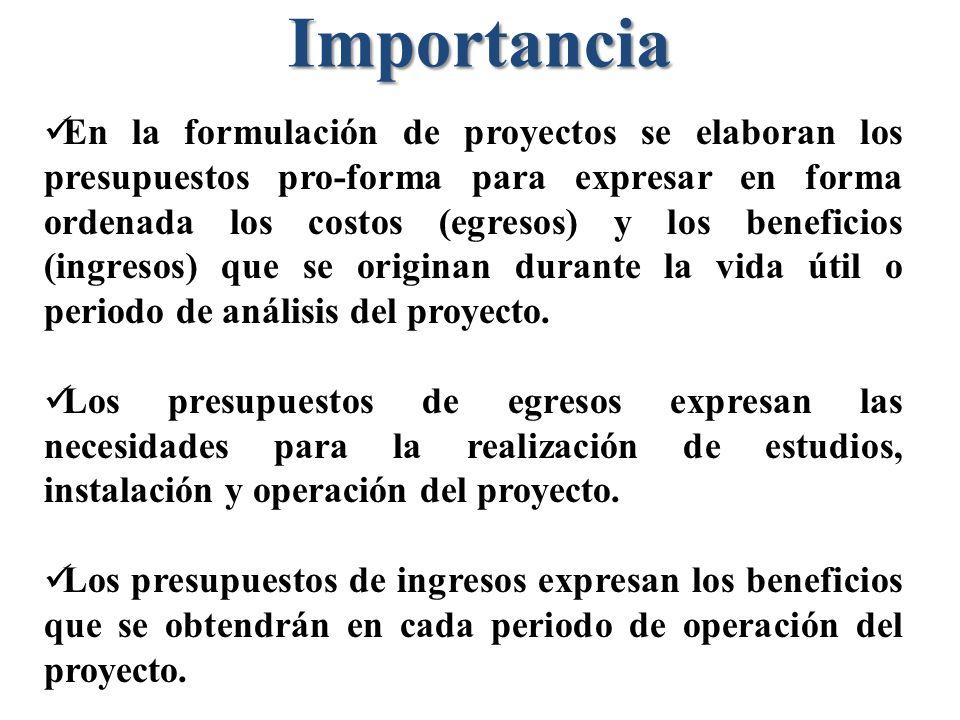 Importancia En la formulación de proyectos se elaboran los presupuestos pro-forma para expresar en forma ordenada los costos (egresos) y los beneficio