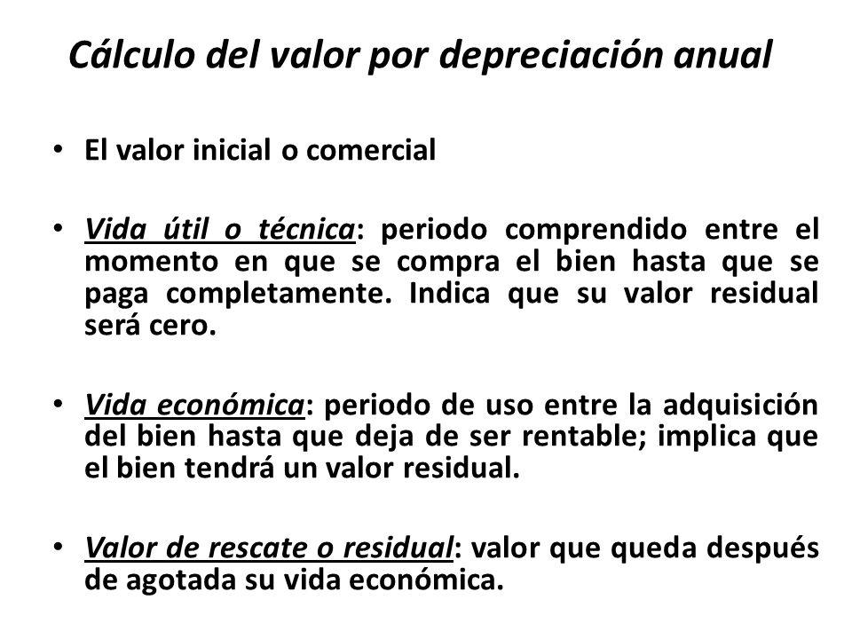 Cálculo del valor por depreciación anual El valor inicial o comercial Vida útil o técnica: periodo comprendido entre el momento en que se compra el bien hasta que se paga completamente.