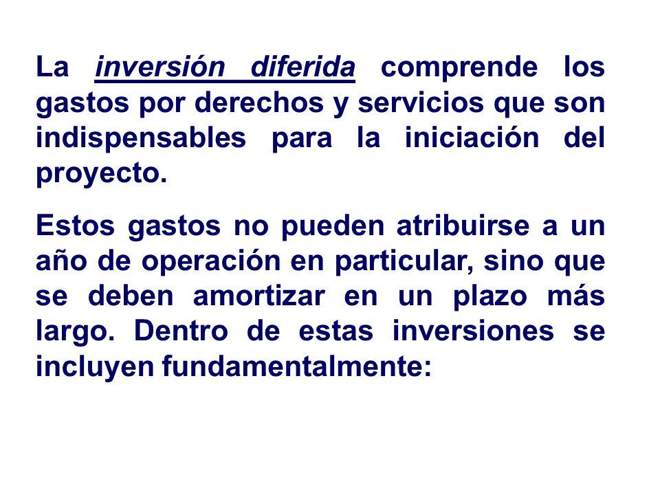 La inversión diferida comprende los gastos por derechos y servicios que son indispensables para la iniciación del proyecto.