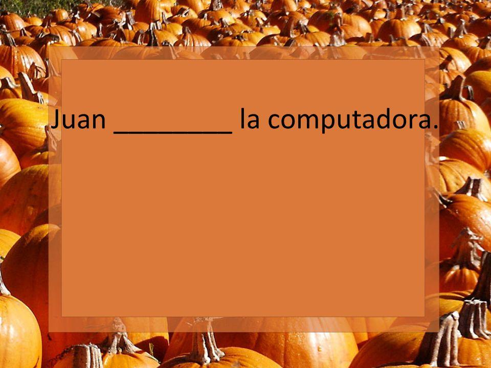 Juan ________ la computadora.