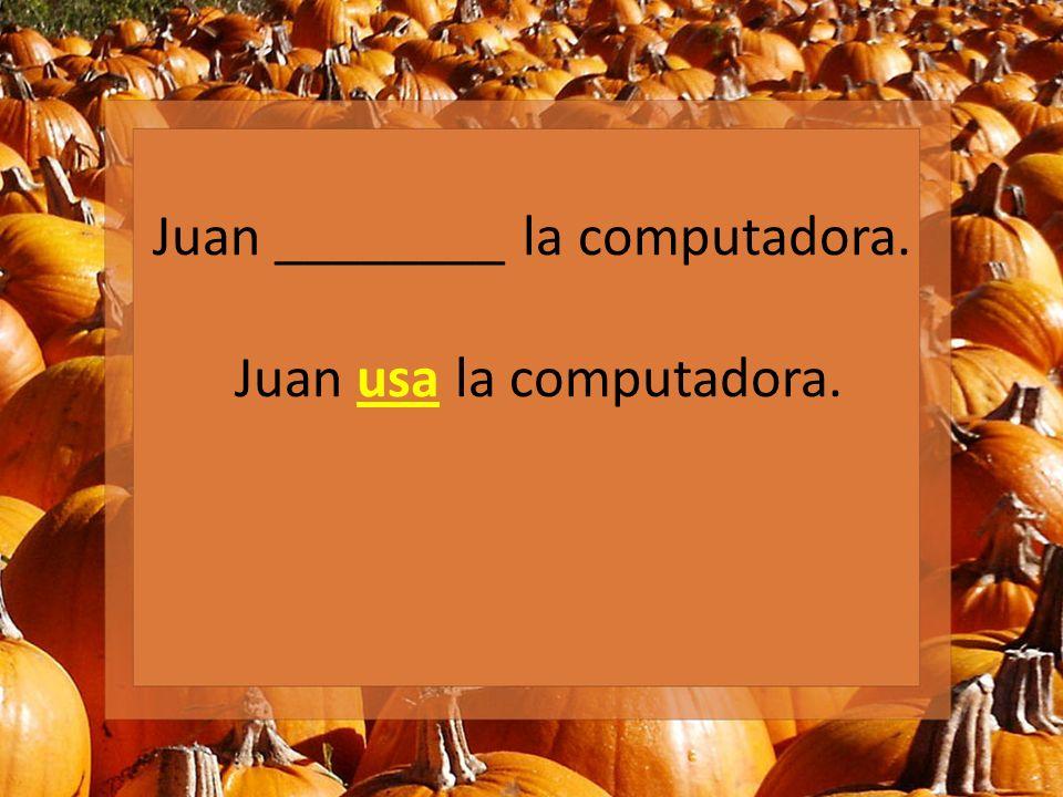 Juan ________ la computadora. Juan usa la computadora.