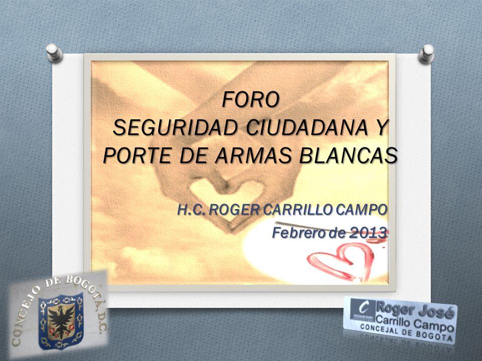 H.C. ROGER CARRILLO CAMPO Febrero de 2013 FORO SEGURIDAD CIUDADANA Y PORTE DE ARMAS BLANCAS