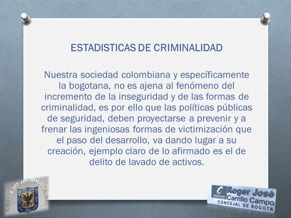 ESTADISTICAS DE CRIMINALIDAD Nuestra sociedad colombiana y específicamente la bogotana, no es ajena al fenómeno del incremento de la inseguridad y de