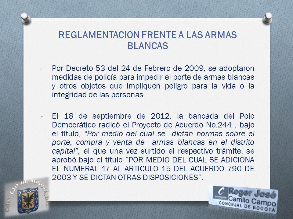 REGLAMENTACION FRENTE A LAS ARMAS BLANCAS - Por Decreto 53 del 24 de Febrero de 2009, se adoptaron medidas de policía para impedir el porte de armas b