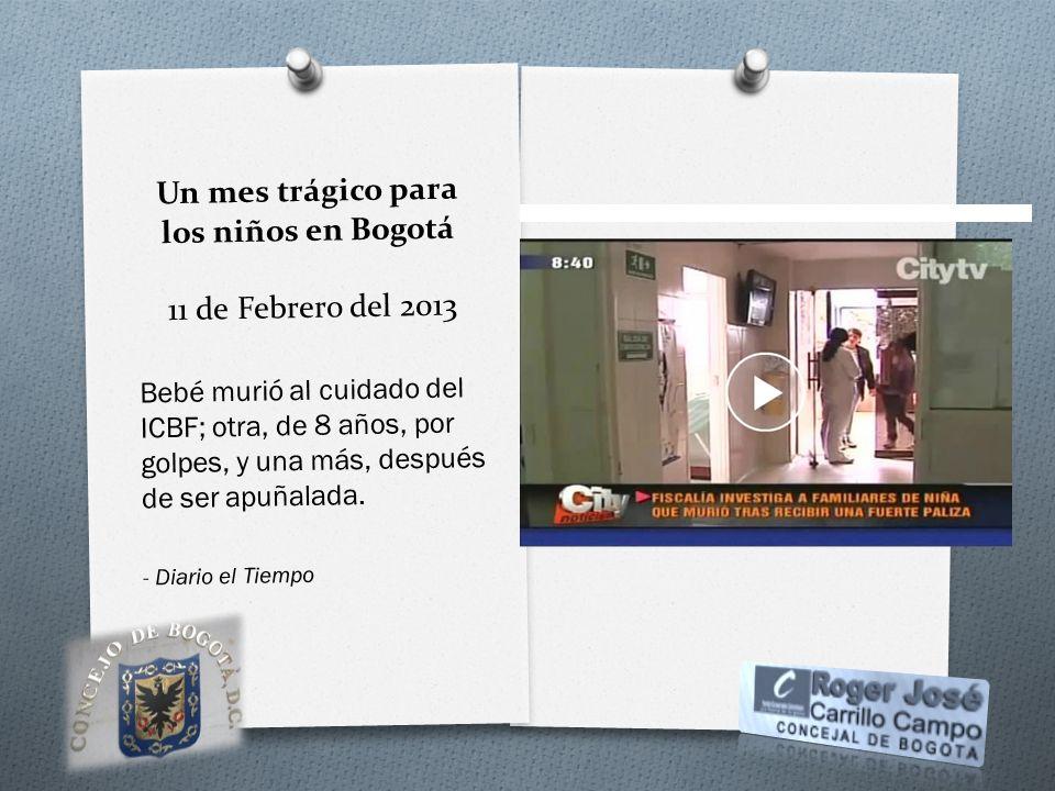 Un mes trágico para los niños en Bogotá 11 de Febrero del 2013 Bebé murió al cuidado del ICBF; otra, de 8 años, por golpes, y una más, después de ser
