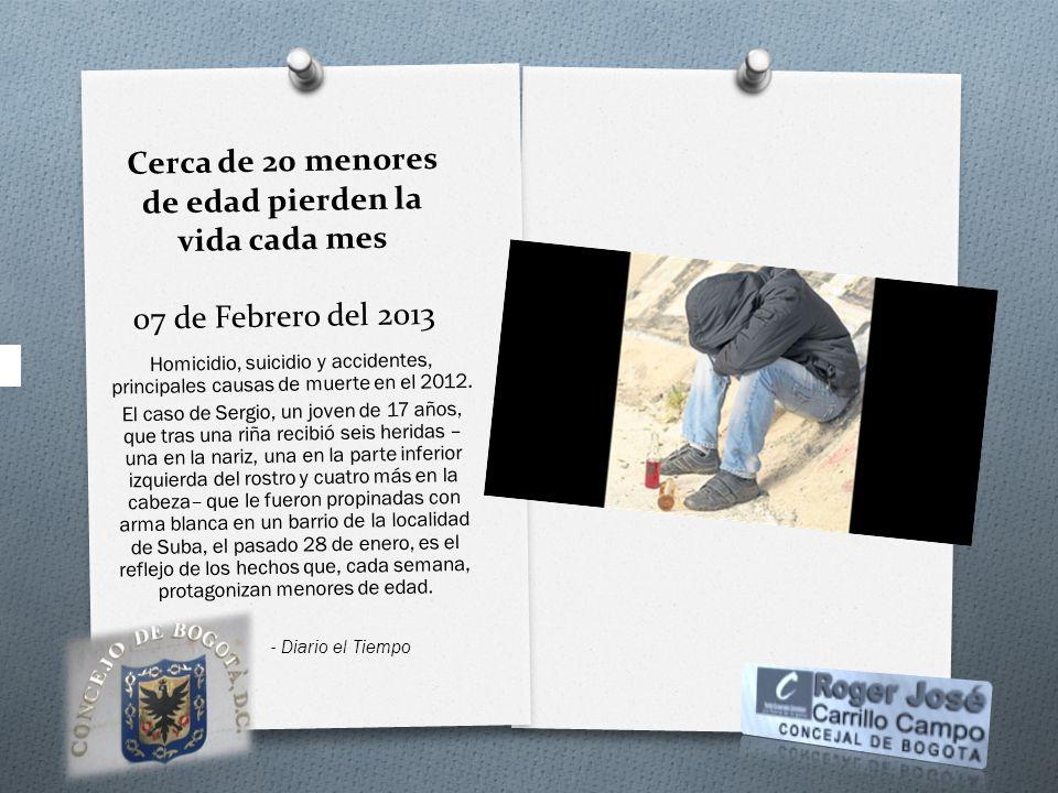Cerca de 20 menores de edad pierden la vida cada mes 07 de Febrero del 2013 Homicidio, suicidio y accidentes, principales causas de muerte en el 2012.