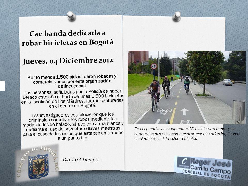 Cae banda dedicada a robar bicicletas en Bogotá Jueves, 04 Diciembre 2012 Por lo menos 1.500 ciclas fueron robadas y comercializadas por esta organiza