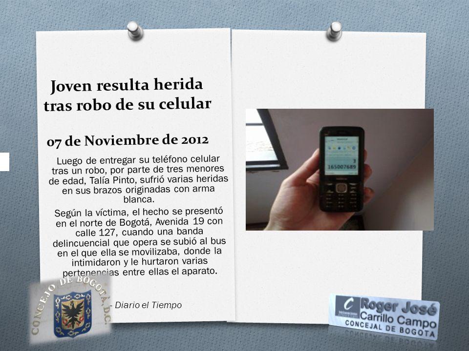 Joven resulta herida tras robo de su celular 07 de Noviembre de 2012 Luego de entregar su teléfono celular tras un robo, por parte de tres menores de