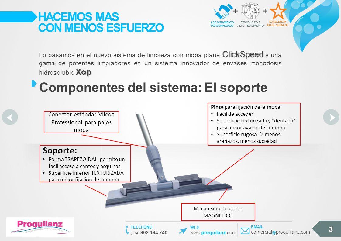 3 EXCELENCIA EN EL SERVICIO ASESORAMIENTO PERSONALIZADO + PRODUCTOS ALTO RENDIMIENTO + HACEMOS MAS CON MENOS ESFUERZO Componentes del sistema: El soporte ClickSpeed Xop Lo basamos en el nuevo sistema de limpieza con mopa plana ClickSpeed y una gama de potentes limpiadores en un sistema innovador de envases monodosis hidrosoluble Xop Conector estándar Vileda Professional para palos mopa Soporte: Forma TRAPEZOIDAL, permite un fácil acceso a cantos y esquinas Superficie inferior TEXTURIZADA para mejor fijación de la mopa Pinza para fijación de la mopa: Fácil de acceder Superficie texturizada y dentada para mejor agarre de la mopa Superficie rugosa menos arañazos, menos suciedad Mecanismo de cierre MAGNÉTICO WEB WWW.