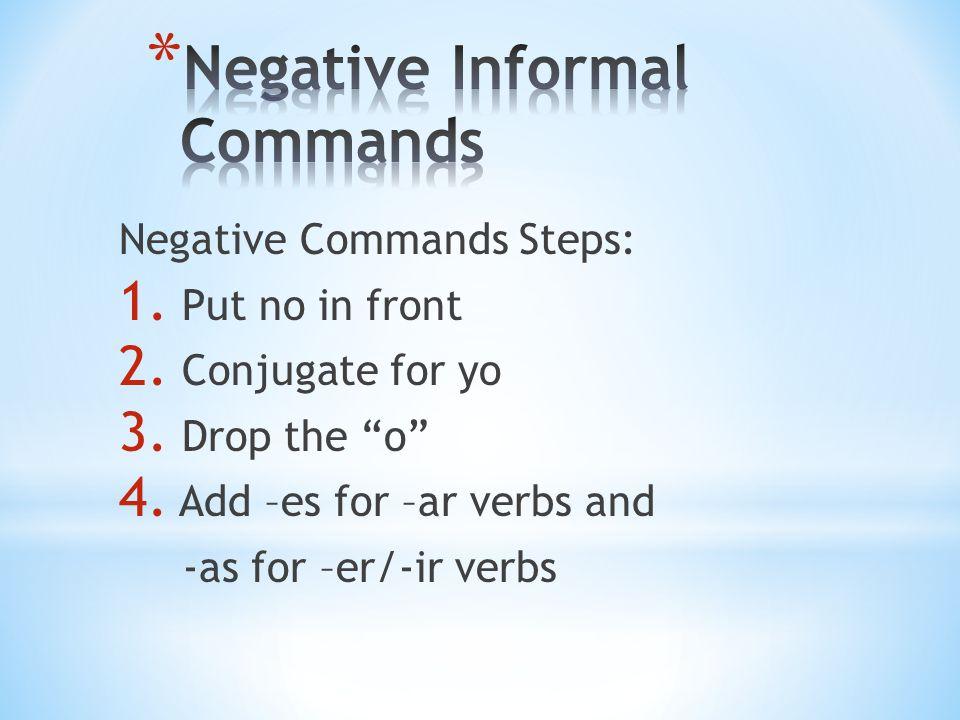 For Example: To talk- Hablar 1.No Hablar 2. No Hablo 3.