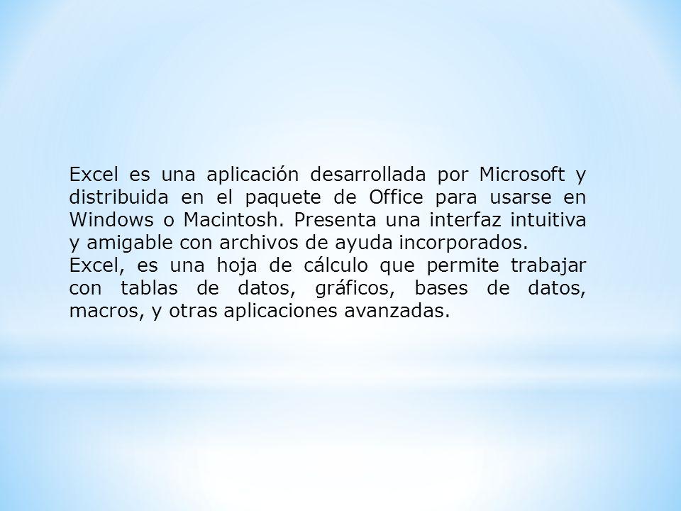 Excel es una aplicación desarrollada por Microsoft y distribuida en el paquete de Office para usarse en Windows o Macintosh. Presenta una interfaz int